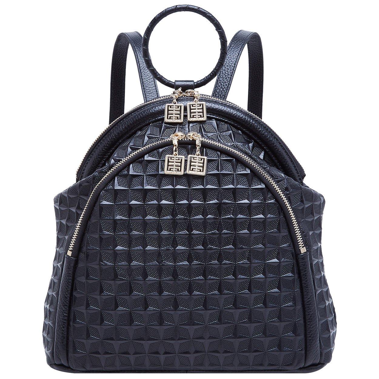 92bff32948 Amazon.com  BOYATU Genuine Leather Backpack for Women Elegant Ring Top  Handle Fashion Bag (Black-1)  Shoes
