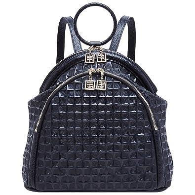 f3a79db87b36 BOYATU Genuine Leather Backpack for Women Elegant Ring Top Handle Fashion  Bag (Black-1