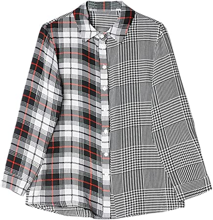XCXDX Camisa De Gasa De Costura A Cuadros Única, Mono De ...