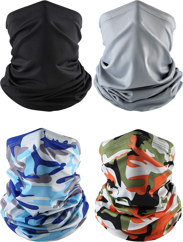 4 Pieces Bandana Face Mask Thin Neck Gaiter Cooling Sunblock Face Scarf