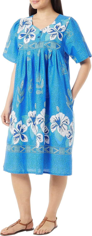 AmeriMark Womens Patio Dress Lounger Floral Print Border Short Sleeve & Pockets