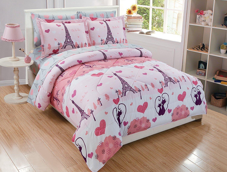 Elegant Home Multicolors Pink Grey Paris Eiffel Tower Bonjour Design 7 Piece Queen Size Comforter Bedding Set for Girls/Kids Bed In a Bag With Sheet Set # Paris (Queen Size)