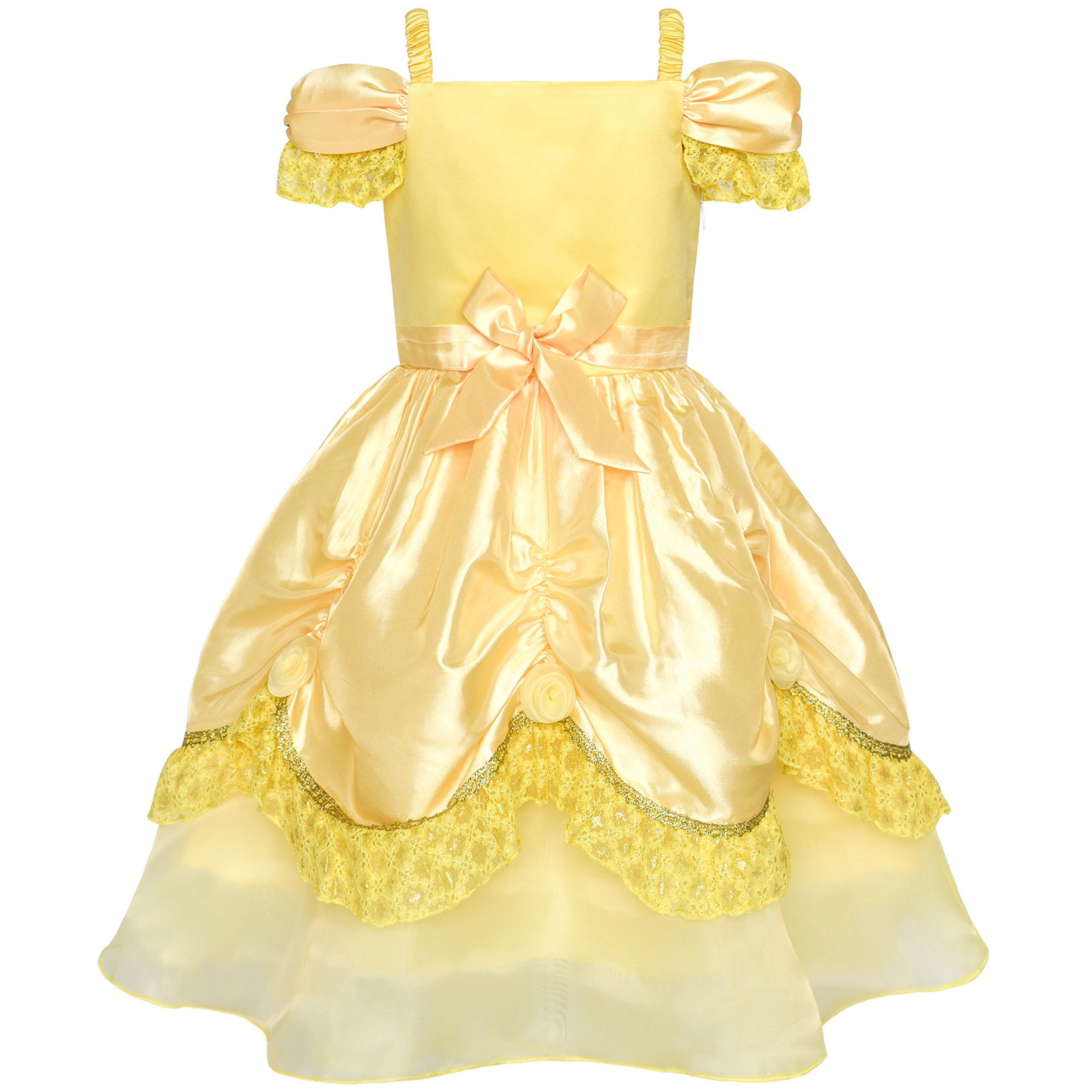 Girls Dress Yellow Princess Belle Costume Birthday Party Size 6 by Sunny Fashion (Image #2)