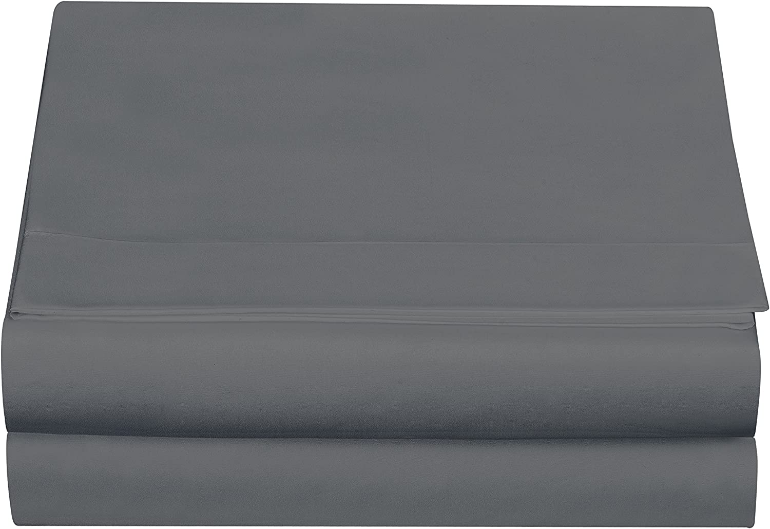 Cathay Luxury Silky Soft Polyester Single Flat Sheet, Queen Size, Gray: Home & Kitchen