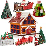 Advent Calendar Reusable Wooden Decor House Refillable DIY Christmas Countdown Gift Surprise Small Winter Cottage
