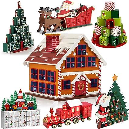Calendrier De Lavent A Remplir Soi Meme.Deuba Calendrier De L Avent Maison En Bois A Remplir Soi Meme Decoration Noel Calendrier De Noel