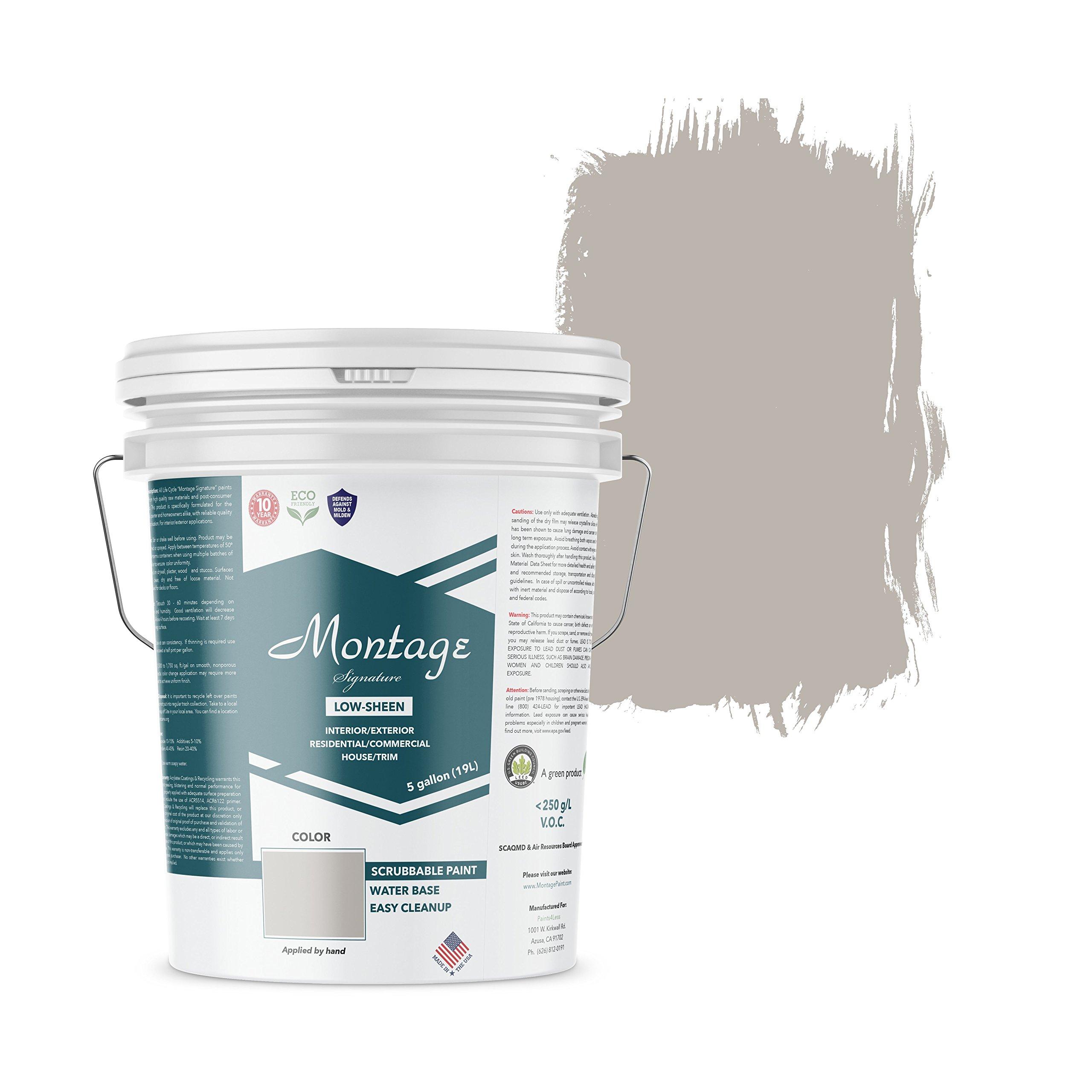 Montage Signature Interior/Exterior Eco-Friendly Paint, Dove Gray - Low Sheen, 5 Gallon