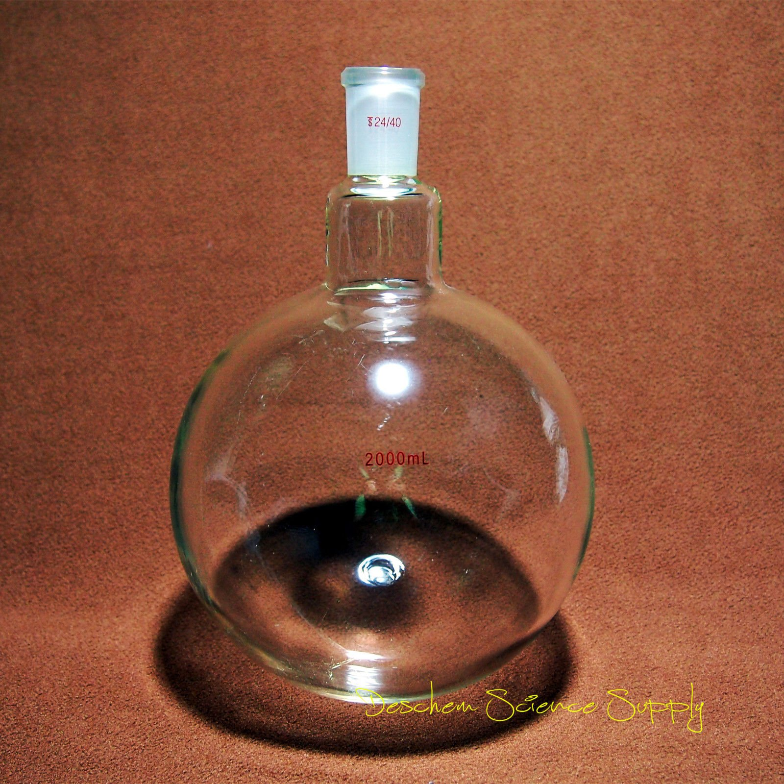 Deschem 2000ml,24/40,Sigle Neck,Round Bottom Glass Flask,One-neck,2L Lab Boiling Bottle