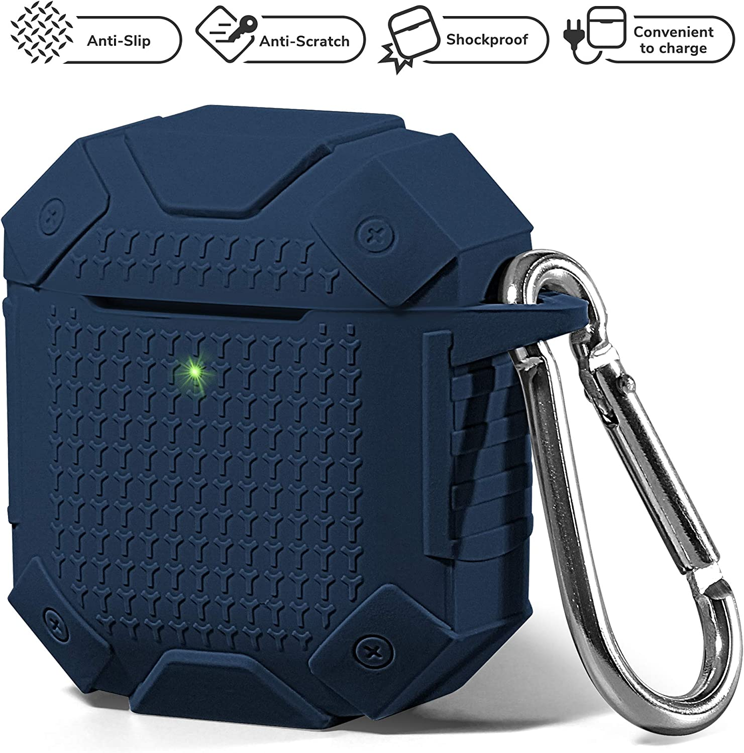 AirPods Case Accessories Kit [Front LED Visible], GMYLE Silicone Heavy Duty Armor Protective Shockproof Airpod Cover Skin with Keychain, Ear Hook, Magnetic Strap for Apple AirPod 1 & 2 – Navy Blue