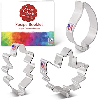 product image for Ann Clark Cookie Cutters 3-Piece Fall Leaves Cookie Cutter Set with Recipe Booklet, Maple, Oak and Teardrop Leaf