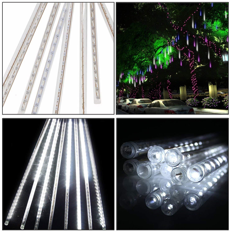 AveyLum LED Falling Rain Lights with 30cm 8 Tube 144 LEDs, Meteor Shower Light, Falling Rain Drop Christmas Lights for Holiday Party Wedding Christmas Tree Decoration (White)
