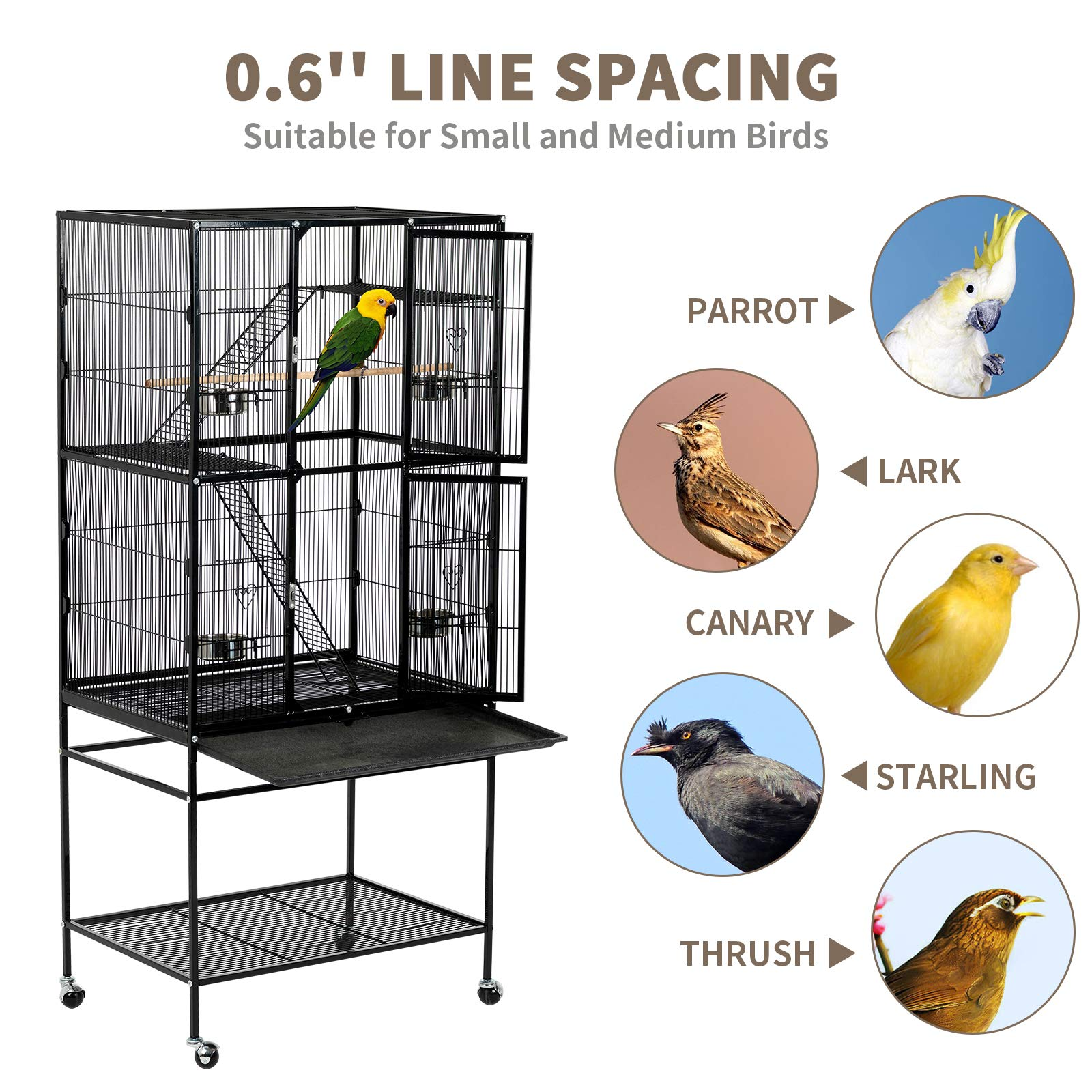 SUNCOO 63 Inch Large Bird Cage Heavy Duty Flight Cage Wrought Iron Aviary for Parrot Budgie Parakeet Cockatoo with Wooden Perch Stairs Steel Bowl Storage Shelf Rolling Stand Wheels by SUNCOO