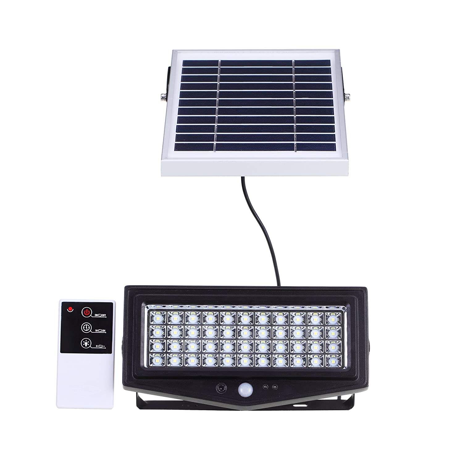 Solar Security Light 44 LED Outdoor Indoor Flood Light with Motion Sensor and Remote Control, 1,000 Lumen. 8,000mah Li-Ion Battery by Smart Purchase Co.