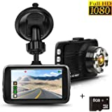 """Dash Cam, Full HD 1080P Car Cam DVR Dashboard Camera Recorder 3.0"""" LTPS Display, Built in G-Sensor, Night Vision, WDR, Loop Recording, Motion Detection, 8GB SD Card Included"""