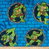 Teenage Mutant Ninja Turtles Fleece Turtle Power Sewer Holes Blue Fabric By The Yard