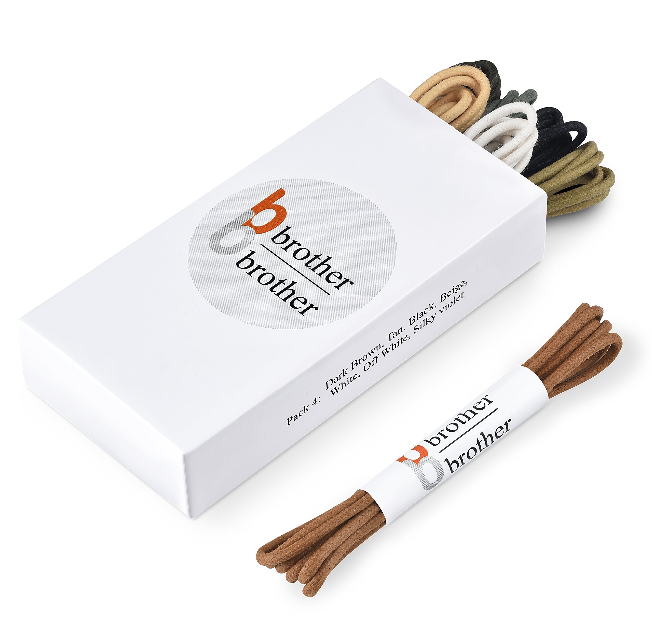Brother Brother Colored Oxford Shoe Laces for Men (7 Pairs) | 100% Cotton Round and Waxed Shoelaces for Dress Shoes | Gift Box with Dark Brown, Tan, Black, Beige, White, Off White and Silky Violet