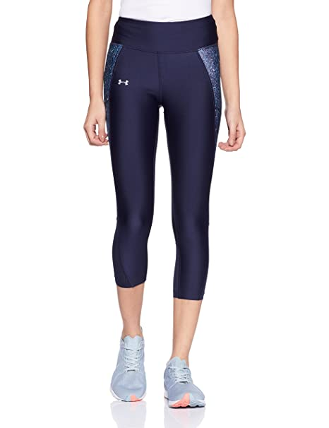 3dc9251ddc9b49 Under Armour Women's Fly-By Printed Capri,Midnight Navy /Reflective, X-