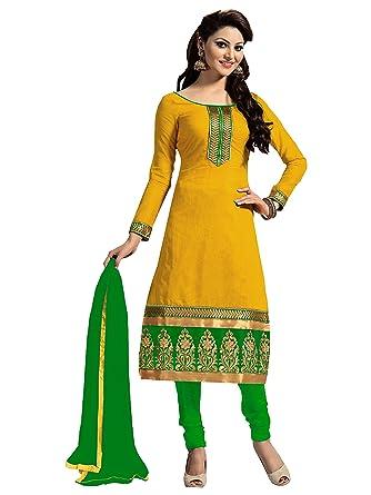 87a4ce40264a Zombom Women's Cotton Salwar Suit Dress Material(ZBMDFM107_Yellow ...
