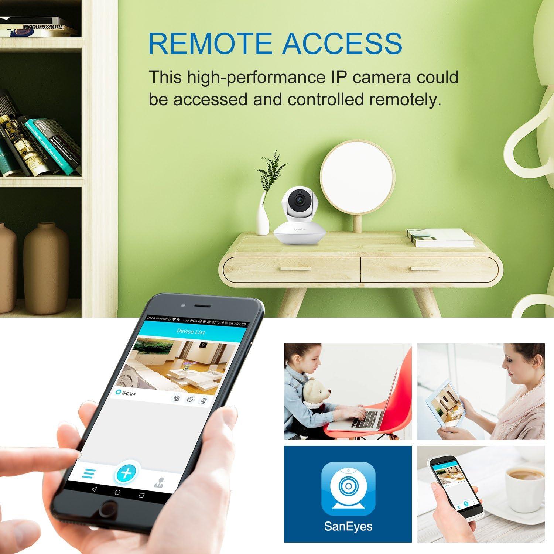 SANNCE IP Cámara de vigilancia 720P HD WiFi Pan / Tilt / Zoom inalámbrico de Seguridad Interior Detección Movimiento Visión Nocturna P2P Compatible con iOS y Android con Micrófono y Altavoz: Amazon.es: