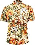 PIZOFF Men's Fashion 3D Print Dress Shirt Short Sleeve Casual T-Shirts