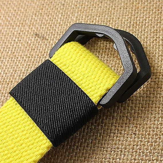 doitsa cinturón en lienzo hebilla de doble anillo de plástico hebilla de tipo D cinturón de color caramelo Cinturón occasionnelle para… g25OyuJ