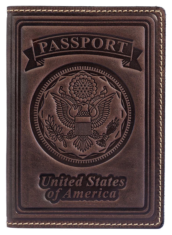 Villini 100% Leather US Passport Holder Cover Case For Men Women In 9 Colors (Brown Vintage)