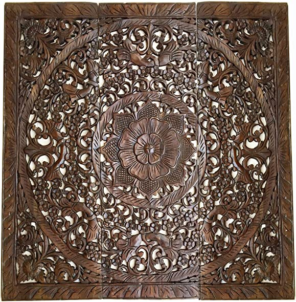 Large Wood Carved Wall Panels. Floral Wood Wall Hanging.Decorative Contemporary Wall Decor. 36″ Square Dark Brown