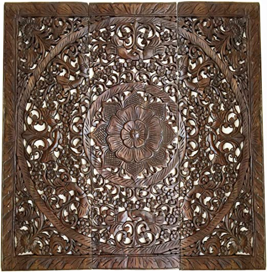 Amazon Com Large Wood Carved Wall Panels Floral Wood Wall Hanging Decorative Contemporary Wall Decor 36 Square Dark Brown Home Kitchen