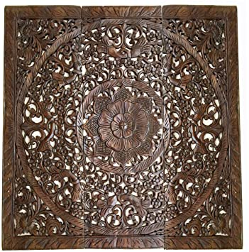 Amazon.com: Large Wood Carved Wall Panels. Floral Wood Wall Hanging ...
