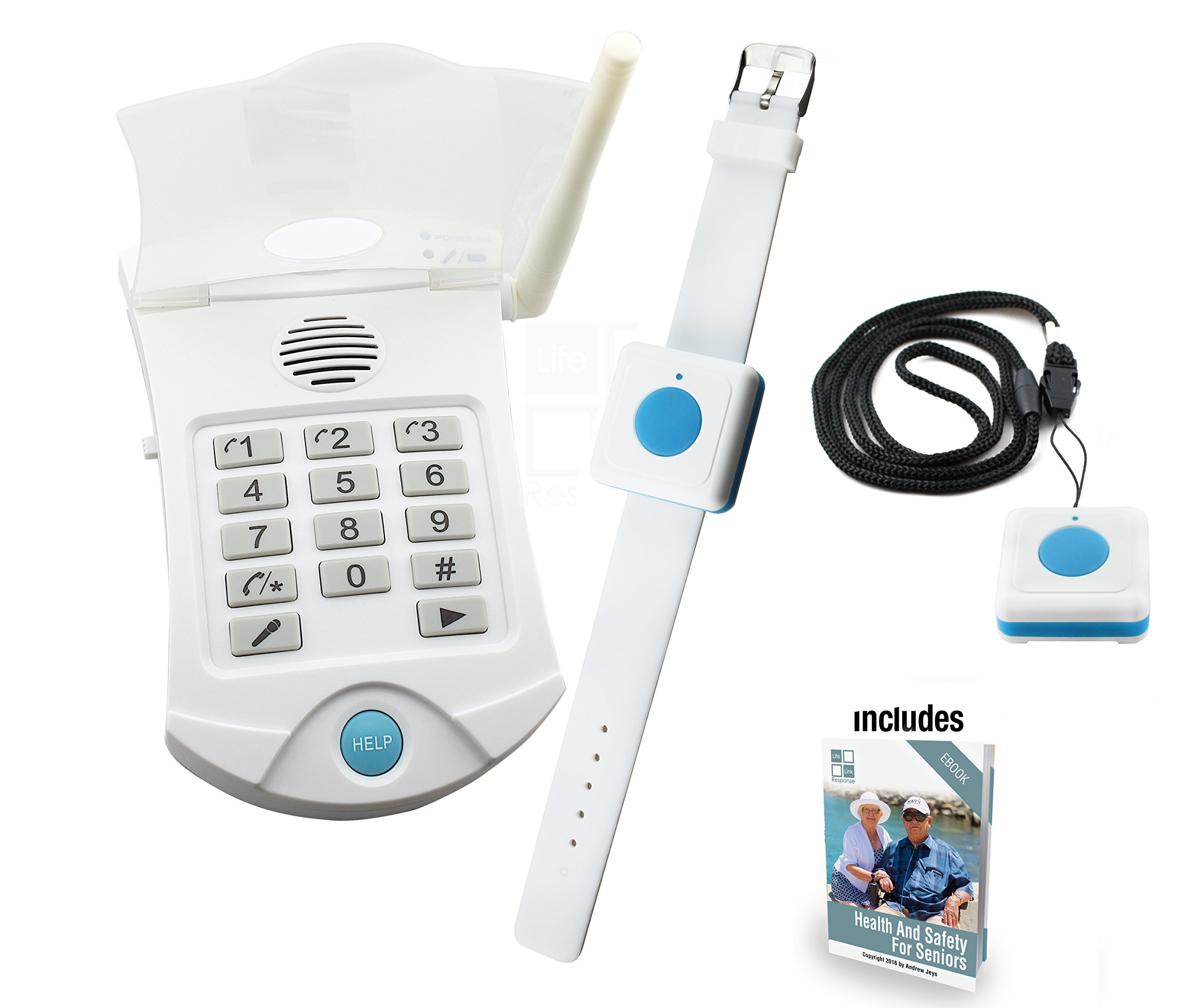Medical Alert Systems for Seniors No Monthly Fee medical alert system - no monthly charges - Includes WATERPROOF Pendant and Wrist Wireless Help Buttons - Elderly Home Help Alarm Life Monitor by Life Link Response