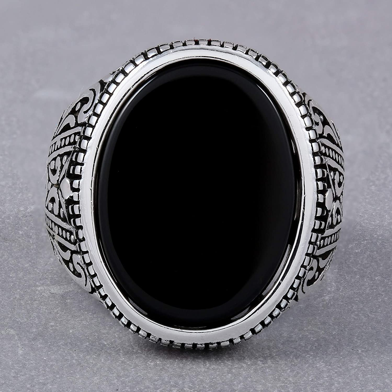 925 Sterling Silver Ring for Men with Oval Black Onyx Stone Turkish Handmade Mens Jewelry Male Rings Size 8