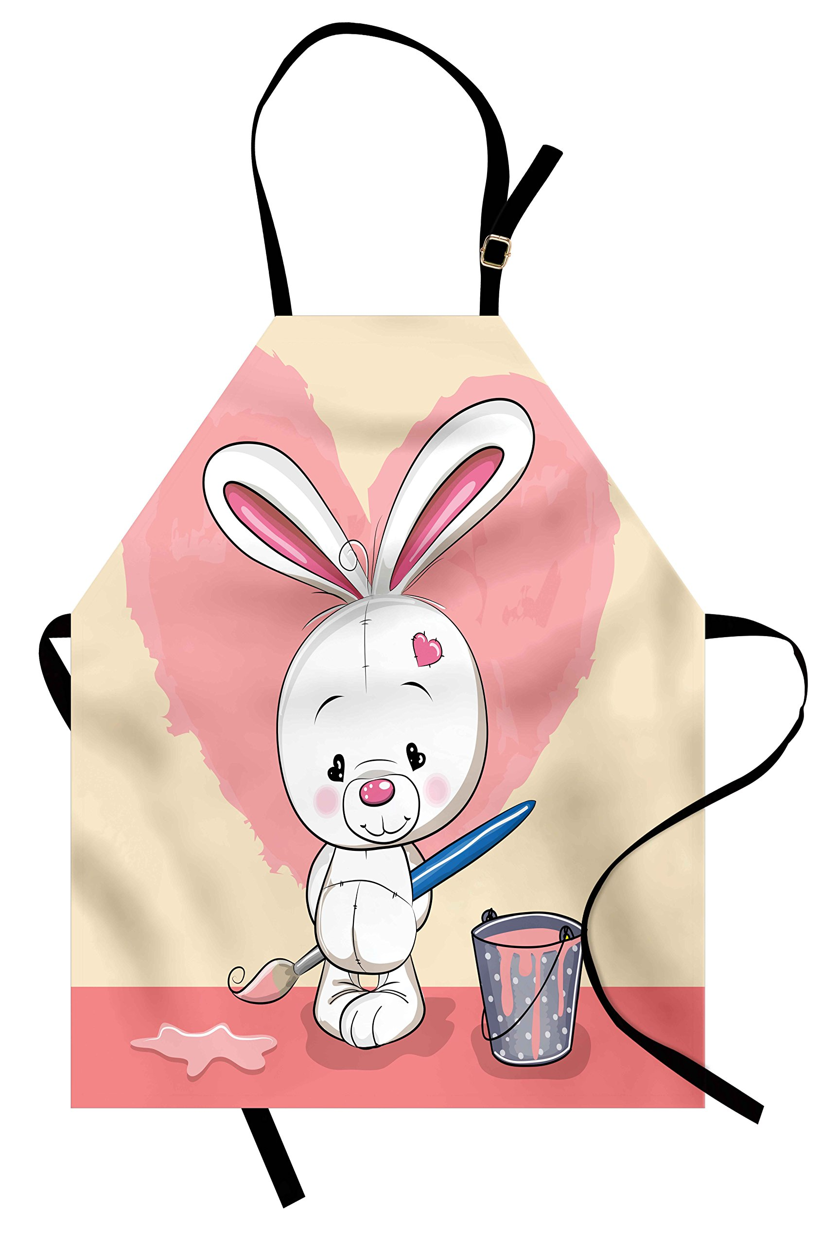 Lunarable Rabbit Apron, Cute and Shy Bunny Painting a Pink Heart on the Wall Heart Shaped Eyes and Ears, Unisex Kitchen Bib Apron with Adjustable Neck for Cooking Baking Gardening, Multicolor
