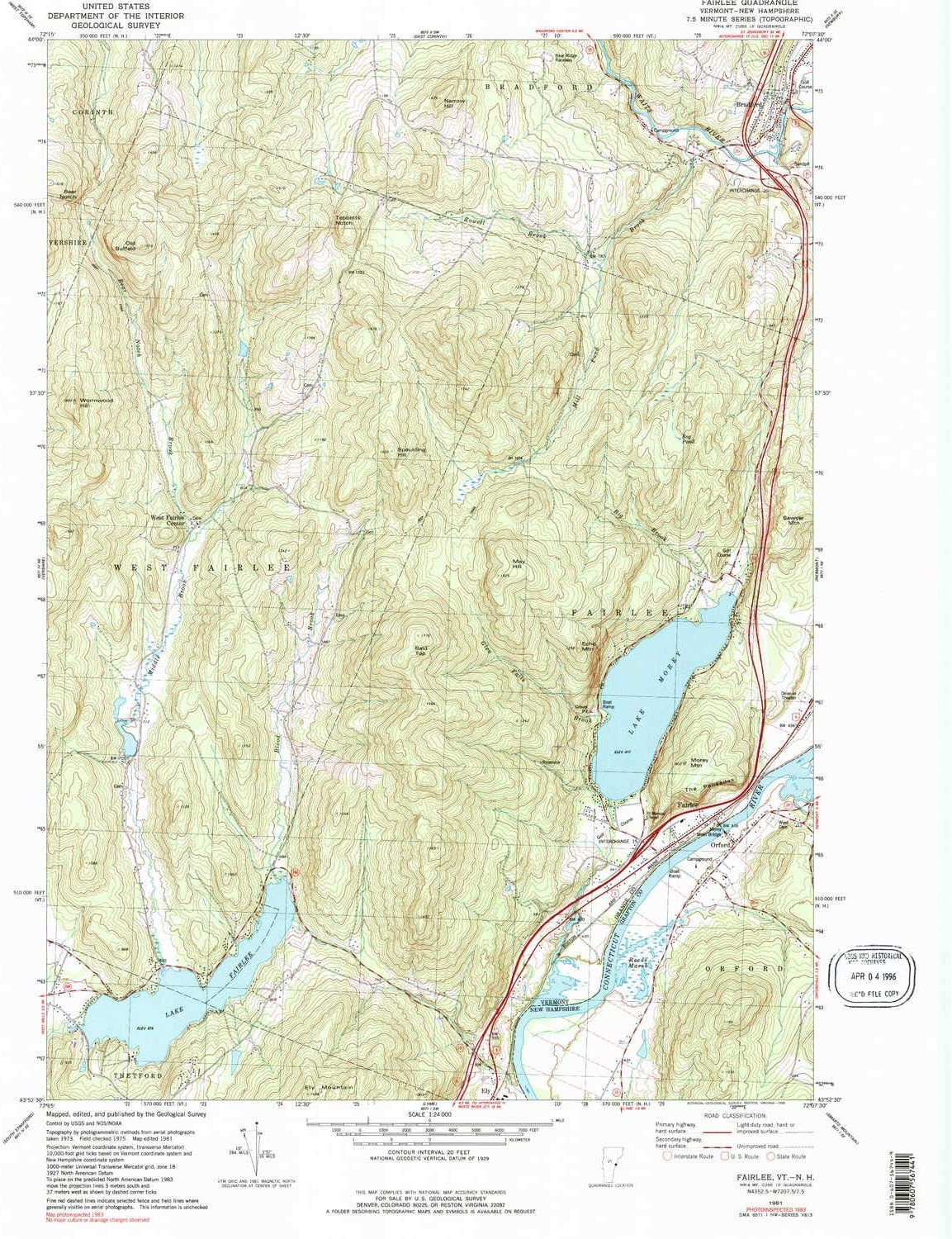1981 Historical 26.7 x 22 in 1:24000 Scale YellowMaps Fairlee VT topo map 7.5 X 7.5 Minute Updated 1990