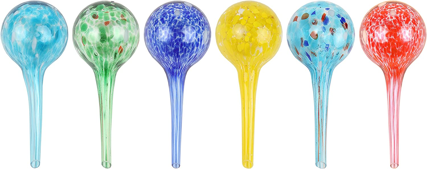 "Miles Kimball Set of 6 Small Multicolored Glass Plant Watering Globes - Each Measures 6"" L x 2.5"" D"