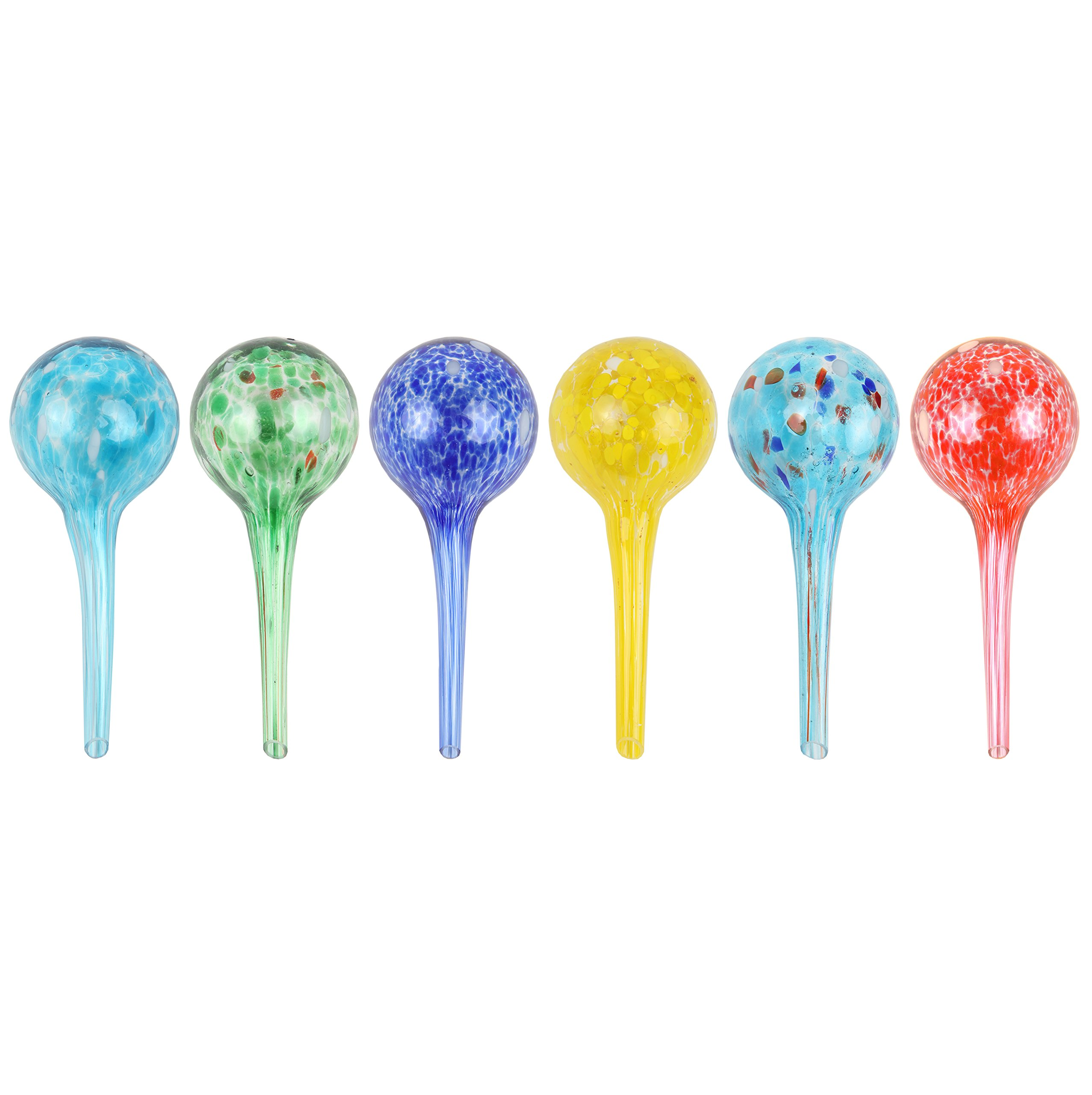Miles Kimball Set of 6 Small Multicolored Glass Plant Watering Globes - Each Measures 6'' L x 2.5'' D by Miles Kimball