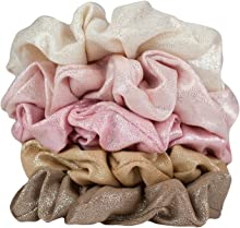Kitsch Hair Scrunchies Pack, Hair Accessories for Women and Girls, Set of Fashion Scrunchies, 5 Count (Blush)