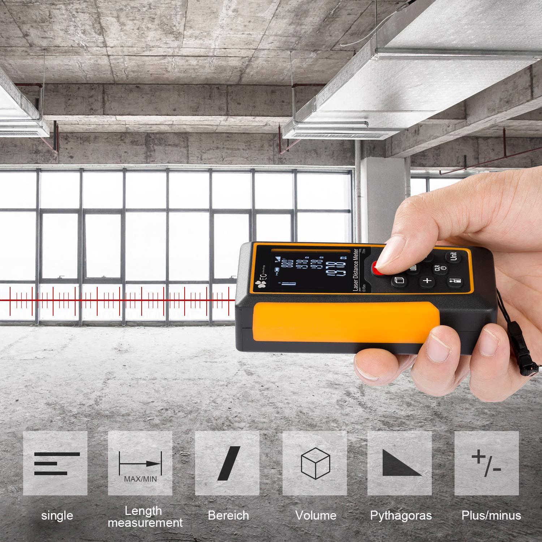 Télémètre Laser 70m Aomaso Mètre Laser Rangefinder Numérique Portable Mètre Laser Compteur de Distance Haute Précision de Mesure (Plage de Mesure de 0,05 à 60 m / ± 1,5 mm) avec Calcule Distance Surface Volume /Niveau IP54/Bulle Intégré/LCD