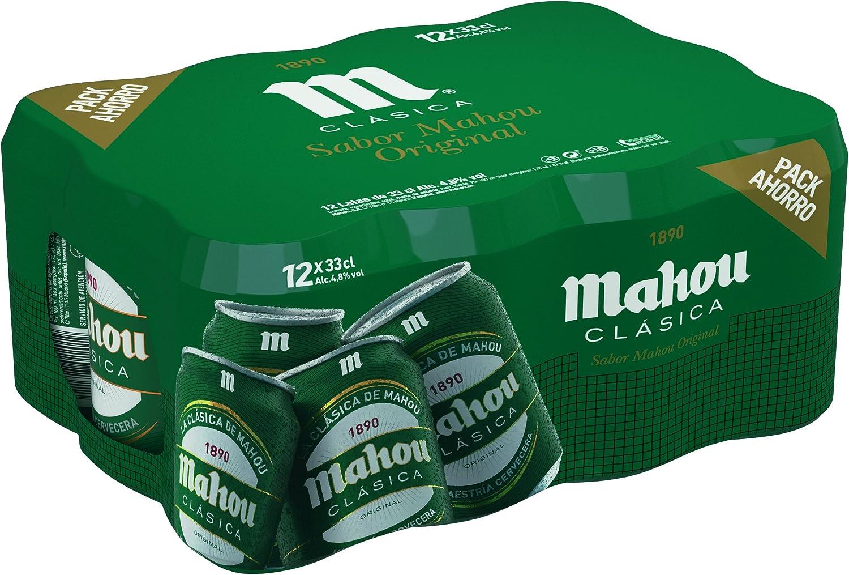 Mahou - Clásica Cerveza Dorada Lager, 4.8% de Volumen de Alcohol - Pack de 12 x 33 cl: Amazon.es: Alimentación y bebidas