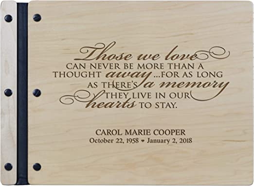 Amazon Com Lifesong Milestones Engraved Personalized Solid Cherry Wood Memorial Sympathy Ceremony Guest Book For Funeral Service Loss Of Loved One Celebration Of Life 13 5x10 Those We Love Maple Home Kitchen