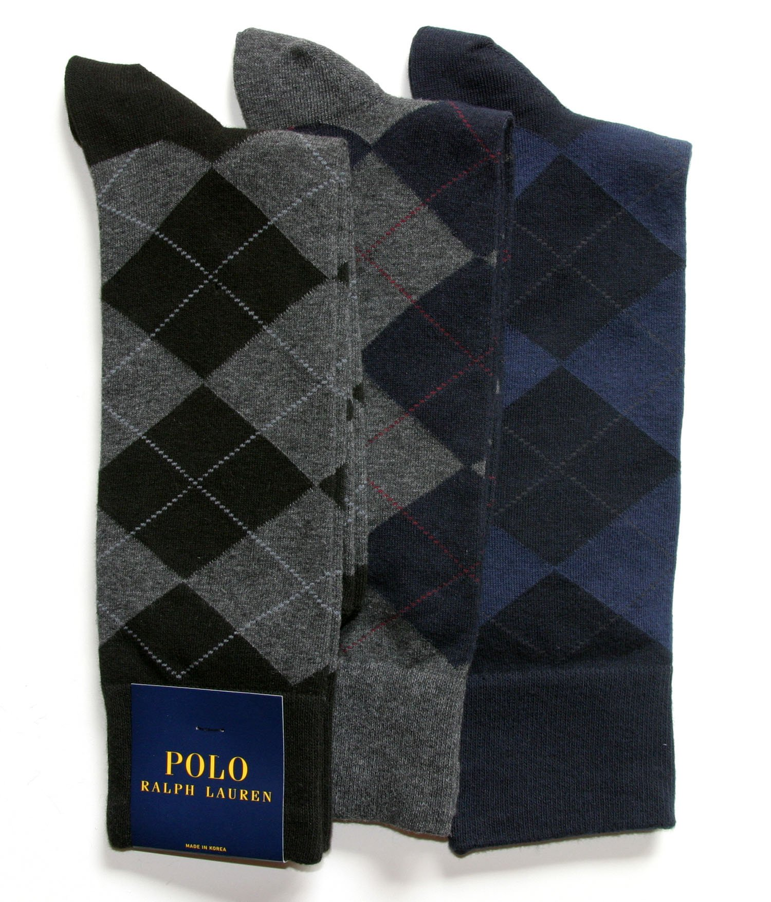 Polo Ralph Lauren Men's 3-Pack Argyle Dress Socks (Size 10-13, Assorted)