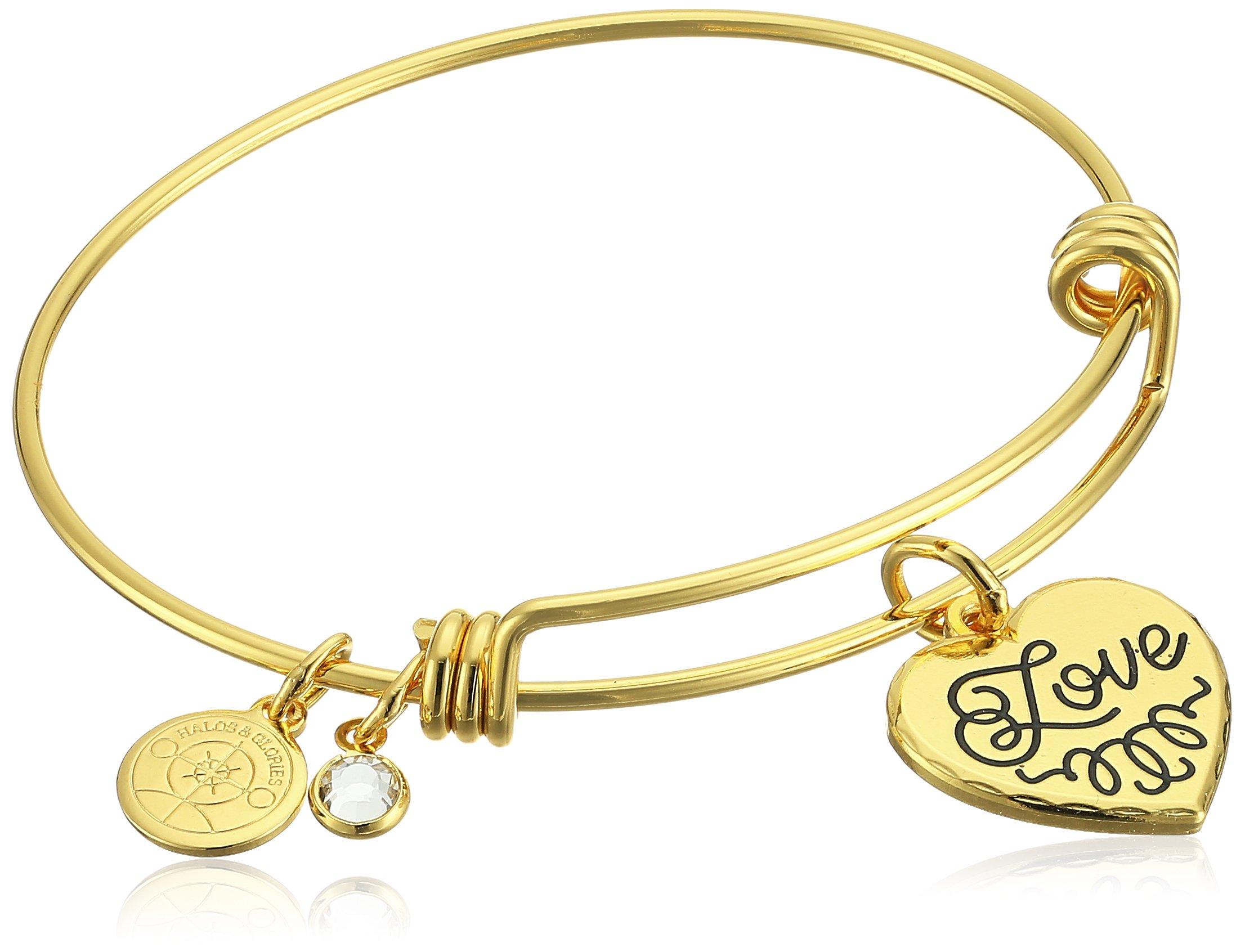 Halos & Glories Love Shiny Gold Bangle Bracelet