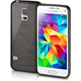 Cover di protezione Samsung Galaxy S5 Mini Custodia Case silicone sottile 1,5mm TPU | Accessori Cover cellulare protezione | Custodia cellulare Paraurti Cover Spazzolata Look DEEP-BLACK