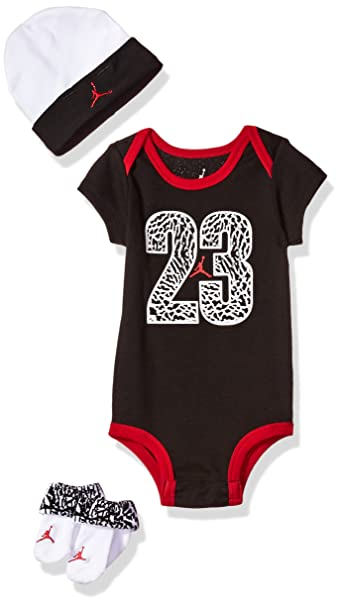 efe337c4c223 Michael Jordan Infant Boy s 3 Pcs Set Bodysuit Cap and Booties 6-12 Months