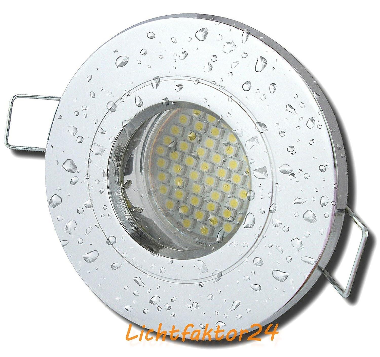 5 Stück IP54 SMD LED Bad Einbaustrahler Nautilus 12 Volt 5 Watt Chrom glänzend Neutralweiß inkl. LED Trafo