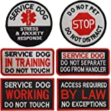 Lightbird 6 PCS Service Dog in Training/Working/Stress & Anxiety Response Embroidered Hook & Loop Morale Patches