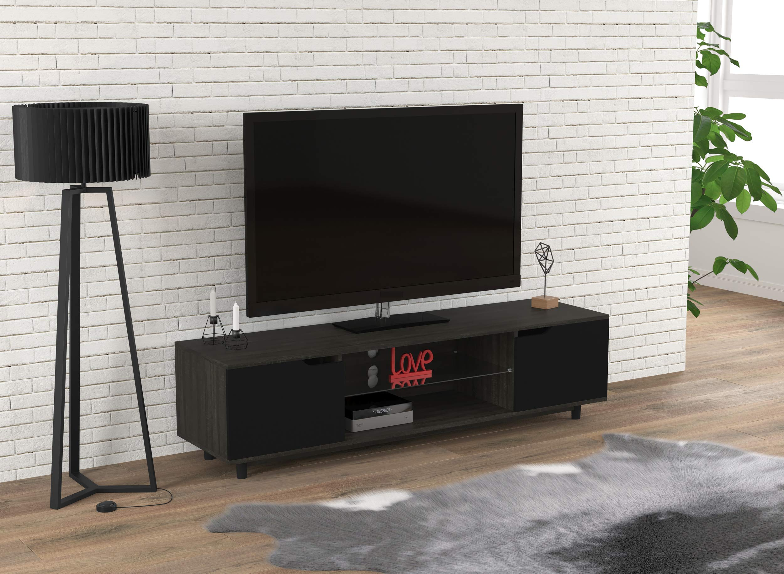 Safdie & Co. 81054.Z.74 Center Table/Tv Console/Entertainment Stand/Media Cabinet, Grey Wood by Safdie & Co.