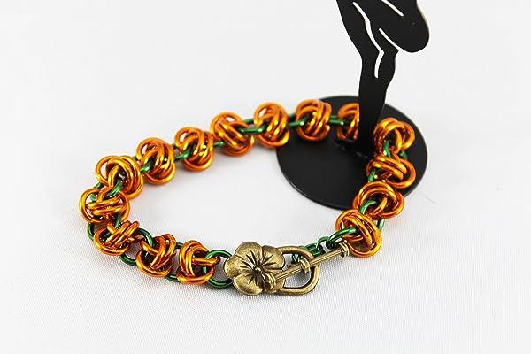 Chain maille pumpkin bracelet, barrel weave