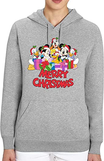 Cup of Tees Mickey and Friends Christmas Adults Grey Unisex Hoodie: Odzież