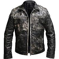 Prime-Fashion Vintage Retro Biker's Antique Cafe Racer Mens Distressed Black Leather Jacket