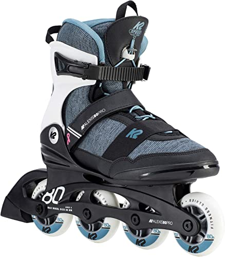 K2 Skate Womens Alexis 80 Pro Inline Skates, Steel Blue